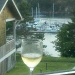 Looking at Deer Harbor Marina With Wine from cabin.