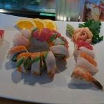 rainbow roll with chefs choice sushi