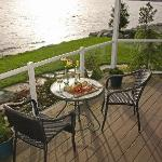 The deck of the Orca Suite is perfect for an evening meal for two.