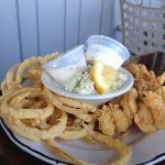 fried butterfly shrimp and onion rings - golden batter!