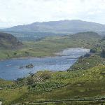 View from the hills above Bryn Elltyd to the lake in front of the house