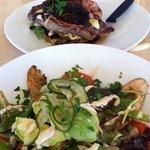 steak and warm chicken salad
