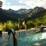 outdoor pool with view towards the valley