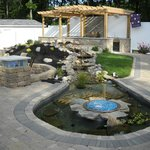 patio, water feature, and bbq area