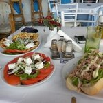gyros, greek salad & tuna baguette