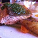 Salmon with fingerlings, beans, & egg