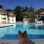 Relaxing with my wife around the pool....