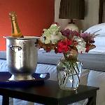 Delivering surprise specially ordered champagne to room!