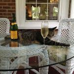 Enjoying the champagne with a friend of the house