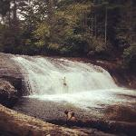 Turtleback Falls with a swimmer