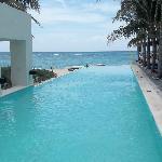 Infinity pool and beach area