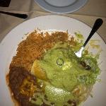 chicken enchiladas with jalapeño garlic green sauce