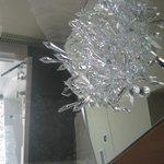 Bar fridge underneath the crystals