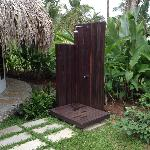 Outdoor shower at entrance of Cabina