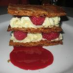 Mille Feuille aux Framboises Caramelized puff pastry, vanilla pastry cream, raspberries
