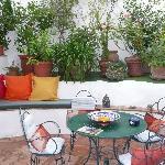 Flower-filled Moorish courtyard