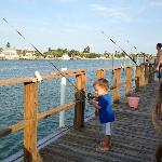 "The ""Boys"" fishing from the dock"