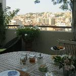View from terrace with breakfast served