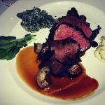 Sliced fillet, with creamed spinach and mashed (Miami Spice Menu).