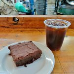 Iced coffee and brownie