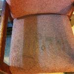 Stains on chair.