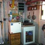 little kitchen in camping cabin.