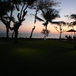 Hotel grounds at sunset