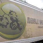 The Marble graphic on the delivery truck