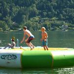 trampoline on lake at strand bad