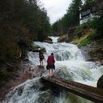 多雨のため、明治温泉の脇の小川は滝みたい。靴を脱いで渡ります