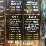 Jungle Park entry prices and bus times