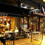 The Outside of The Chocolate Bar at night