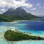 Aerial view of Bora Bora and our private island