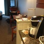 Mini kitchen, great coffee maker, very comfy beds