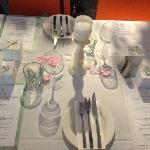 menus(my sister and myslef dressed the tables) But table clothes provided by Mia Cucina