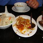 Yeung Chow rice, spicy squid & chilli chicken