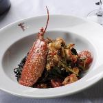 Black tagliolini with lobster