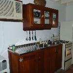 Rm 11 Kitchenette.  That is a turtle shell on top of the cabinets