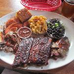 ribs, pulled pork, beef brisket, mac & cheese, black beans & rice, drunken shrimp and fresh corn