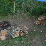 Fire ring and fire wood