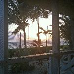 Morning coffee on the porch at sunrise