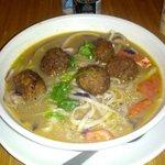 Thai noodle soup with meatballs