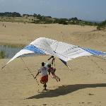 Hang gliding on the dunes