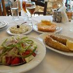 Stuffed peppers, salad and fried cheese, our last lunch in Stoupa