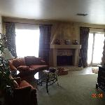 Fire place and sofa