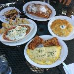 Breakfast @ Strudel. Clockwise frm top left - Strudel, French Toast, Rosti, 3chz Omelet, Tuscan