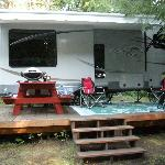 Our trailer fit perfectly with the deck provided on site