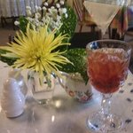 Started my day with a beautiful place setting, flower & iced tea - followed by yogurt.