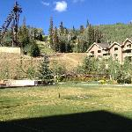 back view of hotel grounds with games and fire pits for the cool evenings!