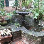 Pretty quatrefoil fountain in the courtyard